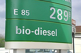 A photo of the price of biodiesel and E85 listed at $2.899 at the pump.