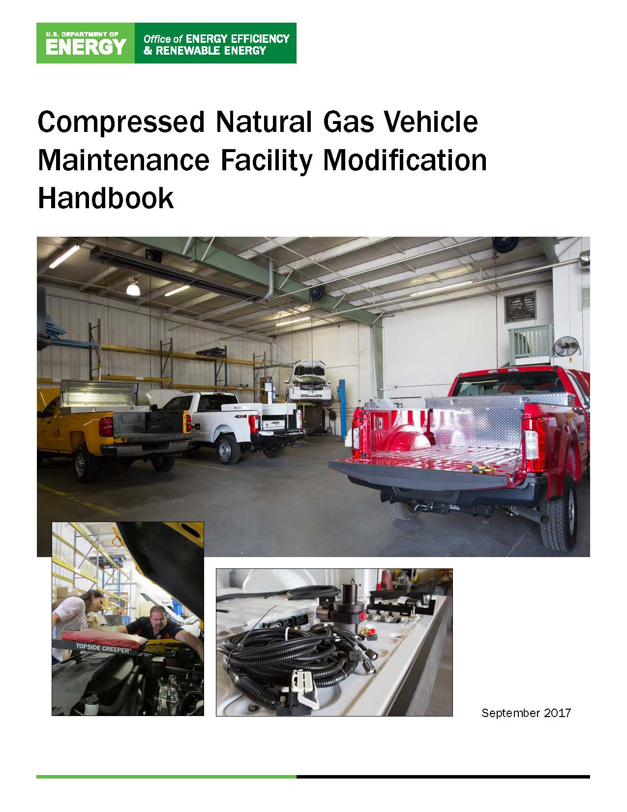 Photo of the cover of the Compressed Natural Gas Vehicle Maintenance Facility Modifications Handbook