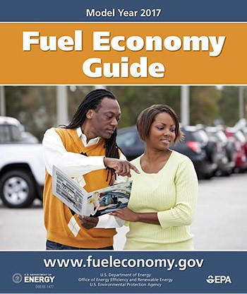 A photo of the printed cover of the 2017 Fuel Economy Guide.