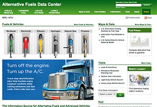 Screenshot of the Alternative Fuels Data Center