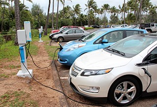 Photo of plug-in electric vehicles charging