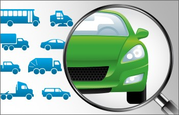 A graphic of various small blue vehicles with one larger, green car shown under a magnifying glass.