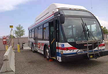 A Grand Valley Transit bus preparing to refuel at Grand Junction's CNG station.