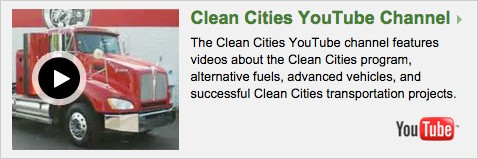 Image is a frame taken from a YouTube Clean Cities video showing alternative-fuel vehicles and the YouTube logo.