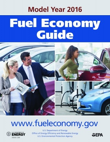 Graphic advertising the U.S. Department of Energy and U.S. Environmental Protection Agency model year 2016 fuel economy guide and associated website, www.fueleconomy.gov.