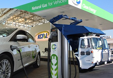 Photo collage of a natural gas station and an electric vehicle charging station.