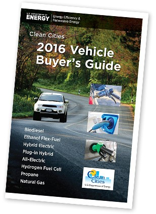 Photo of the cover of the 2016 Vehicle Buyer's Guide, featuring a white SUV driving on a road with fall colors.