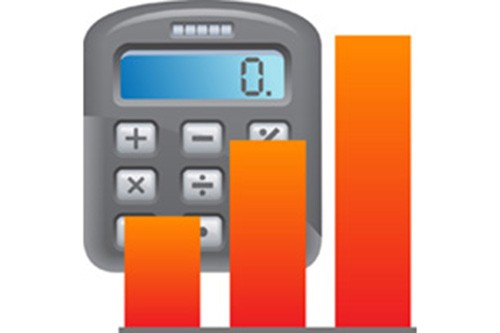 A graphic of a calculator with an orange bar graph next to it.
