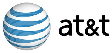 "A graphic of a circle with blue stripes and the word ""at&t"" written next to it."