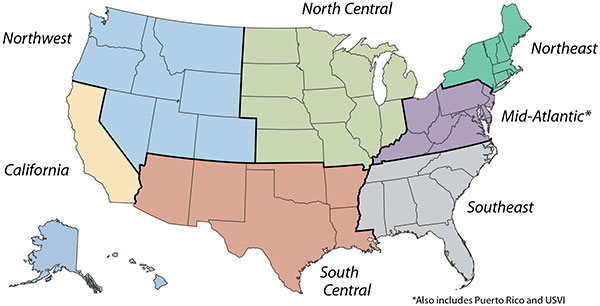 United States map showing the states in each Clean Cities region. The Northwest region includes Alaska, Colorado, Hawaii, Idaho, Montana, Nevada, Oregon, Utah, Washington, and Wyoming. The North Central region includes Illinois, Indiana, Iowa, Kansas, Michigan, Minnesota, Missouri, Nebraska, North Dakota, South Dakota, and Wisconsin. The Northeast region includes Connecticut, Maine, Massachusetts, New Hampshire, New York, Rhode Island, and Vermont. The Mid-Atlantic region includes the District of Columbia, Delaware, Maryland, Kentucky, New Jersey, Ohio, Pennsylvania, Puerto Rico, U.S. Virgin Islands, Virginia, and West Virginia. The Southeast region includes Alabama, Florida, Georgia, Mississippi, North Carolina, South Carolina, and Tennessee. The South Central region includes Arizona, Arkansas, Louisiana, New Mexico, Oklahoma, and Texas. The California region includes California.